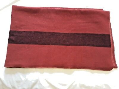 Vintage 100% Wool Camp Blanket Red with Black Stripe Top & Bottom