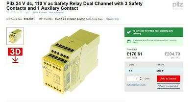 Pilz 24 V dc, 110 V ac Safety Relay Dual Channel with 3 Safety Contacts