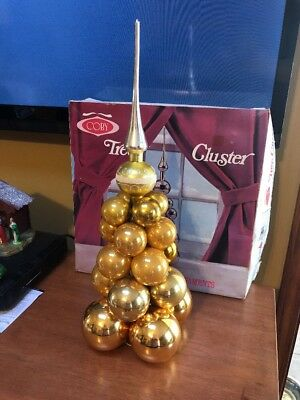 Vintage Coby Tree Cluster GOLD Glass Ornament decoration Topper