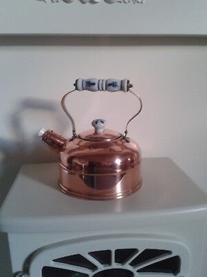 French Vintage Copper Kettle With Blue & White Delft Style Ceramic Handle