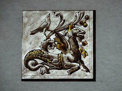 Beautiful Stained glass.DRAGON.Hand painted.Kiln fired.140 x 135mm.Antigue stul