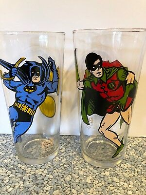 Vintage PEPSI DC Comics Super Series Batman & Robin set Collectors Glassware