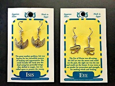 LOT of Egyptian Silver Earnings of Isis and Eye of Horus Wedjats FREE SHIPPING!