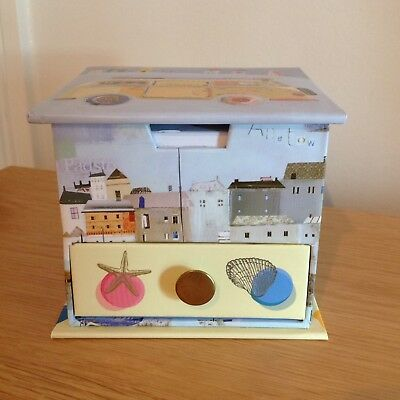 """Stationery Memo Cube With Drawer. """"By the Sea"""" Design. New!"""