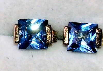 Natural 3cts Blue Topaz 9ct gold earrings