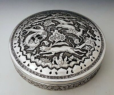 Magnificent Quality Antique Persian Islamic Eastern Signed Solid Silver Box 657g