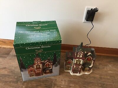 Christmas Streets Collection~ Fire Station Fiber Optic Lighted Porcelain House