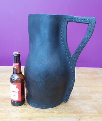 1800's Antique Leather Jug Bombard Blackjack English 19th Century 37CM VERY RARE