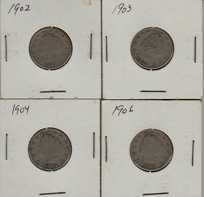 LIBERTY V- NICKELS LOT OF 4 WITH READABLE DATES. Good condition!