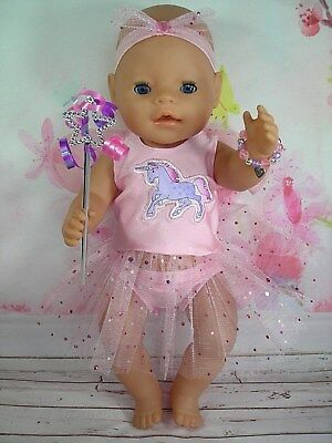 "Dolls clothes for 17"" Baby Born doll~ UNICORN~PINK FAIRY WING DRESS SET"
