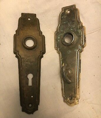 Vintage or antique art deco brass/chrome backplate with thumb latch