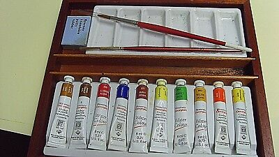 Artists Wooden Paint  Box  Brushes Rowney Water Colour Tubes Ceramic Palete