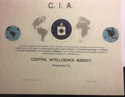 Cental Intelligence Agency, Diploma-Certificate. Comes Blank Fill In Own Info.