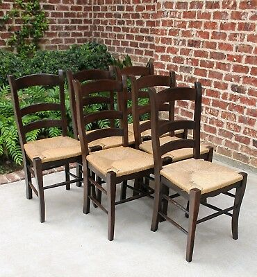 Antique French Country Oak Farm Farmhouse Ladder Back Chairs Rush Seats SET of 6