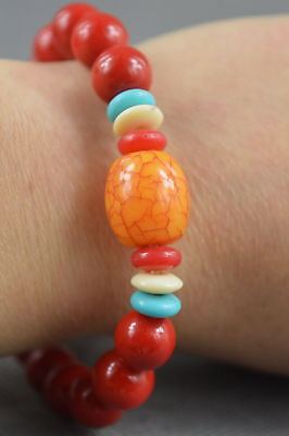 China Collectable Red Agate Carve Texture Natural Bead Lucky Auspicious Bracelet