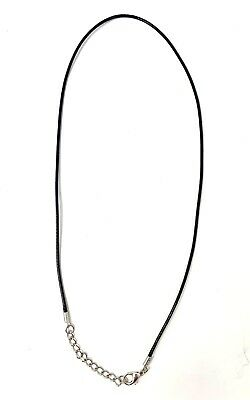 Black Leather Wax Rope Cord Necklace Chain