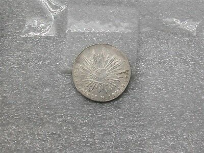 1877 Cap & Rays 8R 8 Reales Republic Mexico Large Mexican Silver Coin