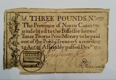 1771 Province of North Carolina Three Pounds Note