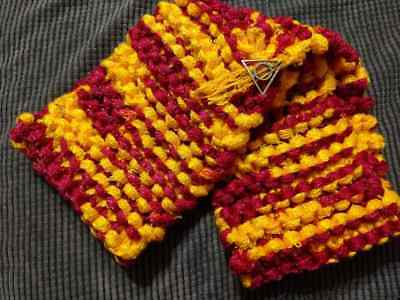 Harry Potter Gryffindor House inspired Scarf Hand knit Deathly Hallows charm