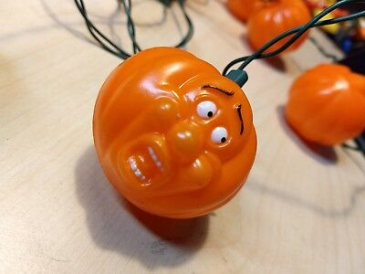 VTG Halloween String Lights 10 blow mold PUMPKINS Surprised Scared Face ghost