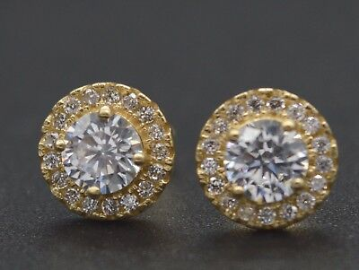 14k Solid Yellow Gold 1.50ct Round Brilliant Lab Diamond Halo Stud Earrings