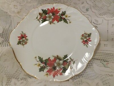 "Beautiful Vintage Queens ""poinsettia & Holly"" Cake Plate And Boxed Cake Server"