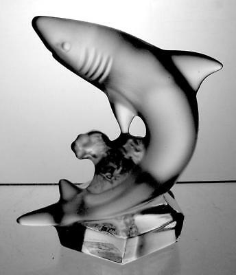 Scarce Vintage Goebel Crystal Frosted Glass Shark Perfect Christmas Present