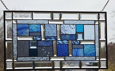 "• Cool Blue •Beveled Stained Glass Window Panel • 26 1/2"" x 14 1/2"""