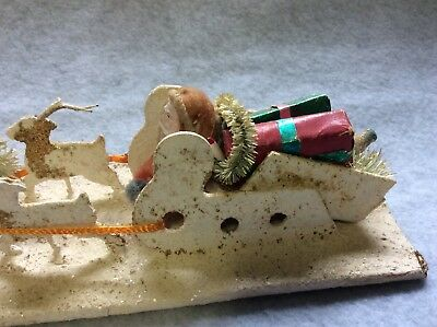 Antique Spun Cotton Santa with Paper Mache Sleigh