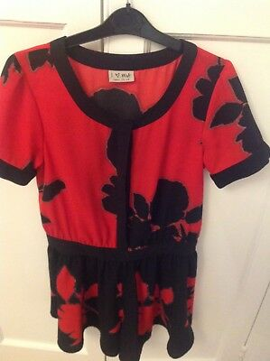 Girl's Next Playsuit - red/black with leaf design. Age 11 years - Excellent con