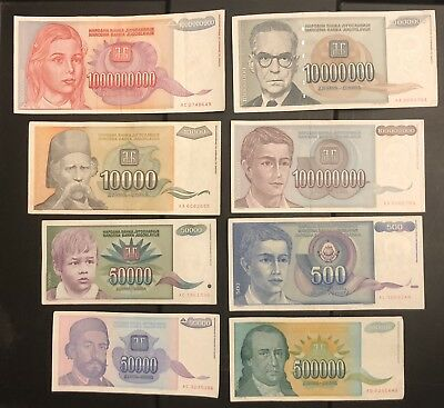 YUGOSLAVIA Dinara Banknotes X 8 Pieces, 1993, World Currency Set, Hyperinflation