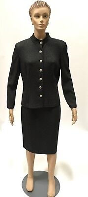 St John Collection Skirt Suit Marie Gray Knit Dress Jacket Blazer Career Sz 8