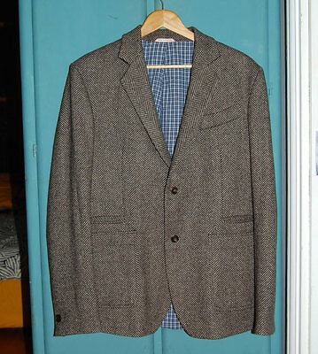 OLIVER SPENCER 100% Pure New Wool Black White Tweed Tailored Jacket 44 M/L £349