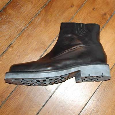 £190 MARE UOMO Tronchetto Men's Black Leather Zipper Boots UK 9.5 EU 43.5 Italy
