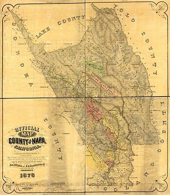 A4 Reprint of American Cities Towns States Map Napa County California