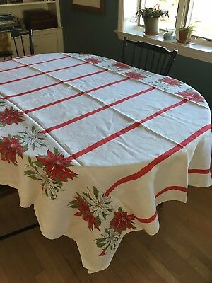 "Vintage Printed Linen Poinsettia Christmas Tablecloth 56"" X 83"""