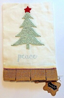 Christmas Tree Kitchen Towel Peace NWT Mudpie Linen French Knot Burlap Hem Pleat
