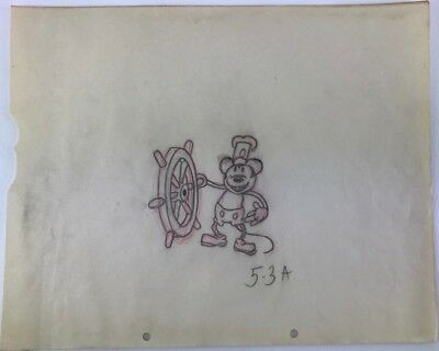 "DISNEY MICKEY MOUSE ""STEAMBOAT WILLIE"" 1928 ORIGINAL ART DRAWING Extremely Rare!"