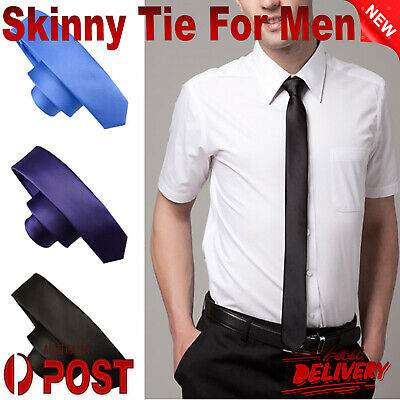 Classic Mens Boy Slim Skinny Wedding Party Solid Plain Satin Narrow Tie Necktie