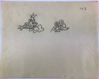 "Disney First Mickey Mouse Cartoon ""plane Crazy"" 1928 Original Art Drawing #43"