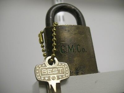 BEST LOGO PADLOCK/ best lock / C.M.Co. lock/ old lock/ brass lock/ advertising.