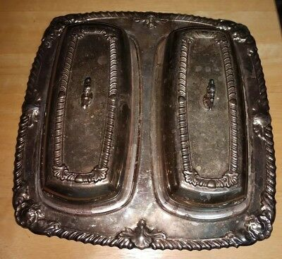 vintage silver plated double butter dish with glass inserts