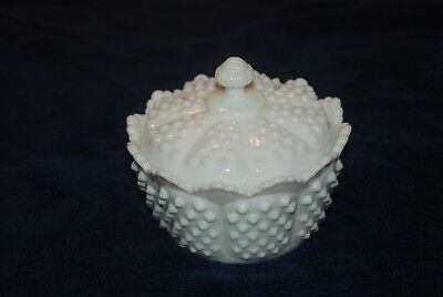 Fenton Hobnail White Milk Glass Candy Dish W/ Lid, Covered Butter Tub -Scalloped