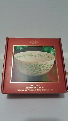"""Lenox Holiday Sentiment Bowl """"home Where The Heart Is"""" New"""