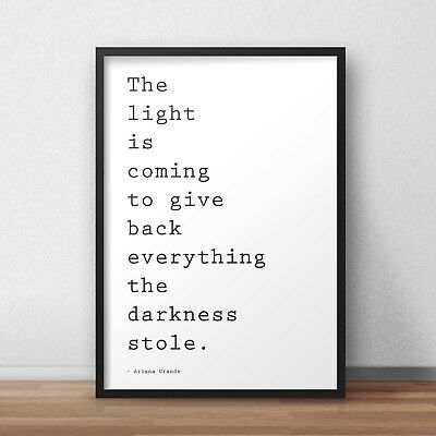 Ariana Grande The Light is Coming Lyrics INSPIRED WALL ART Print / Poster A4 A3