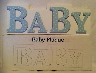 Baby Plaque - Baby Boy - White/Blue - Wooden - Brand New