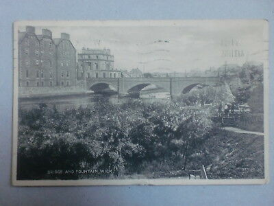 Wick Caithness Bridge & Fountain 1938 Vintage Postcard Station Hotel Bromotype