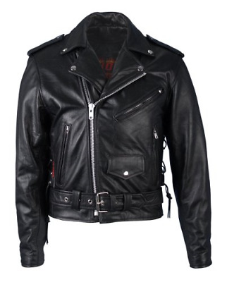 Hot Leathers Classic Motorcycle Jacket with Zip Out Lining Black, Size 48