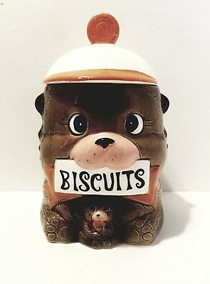 Rare Vintage 1960's Japan Ceramic Hand-painted Biscuit Cookie Jar. Bear With Cub