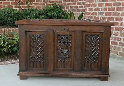 Antique French GOTHIC Oak Coffer Chest Blanket Box Coffee Table Trunk 19th C